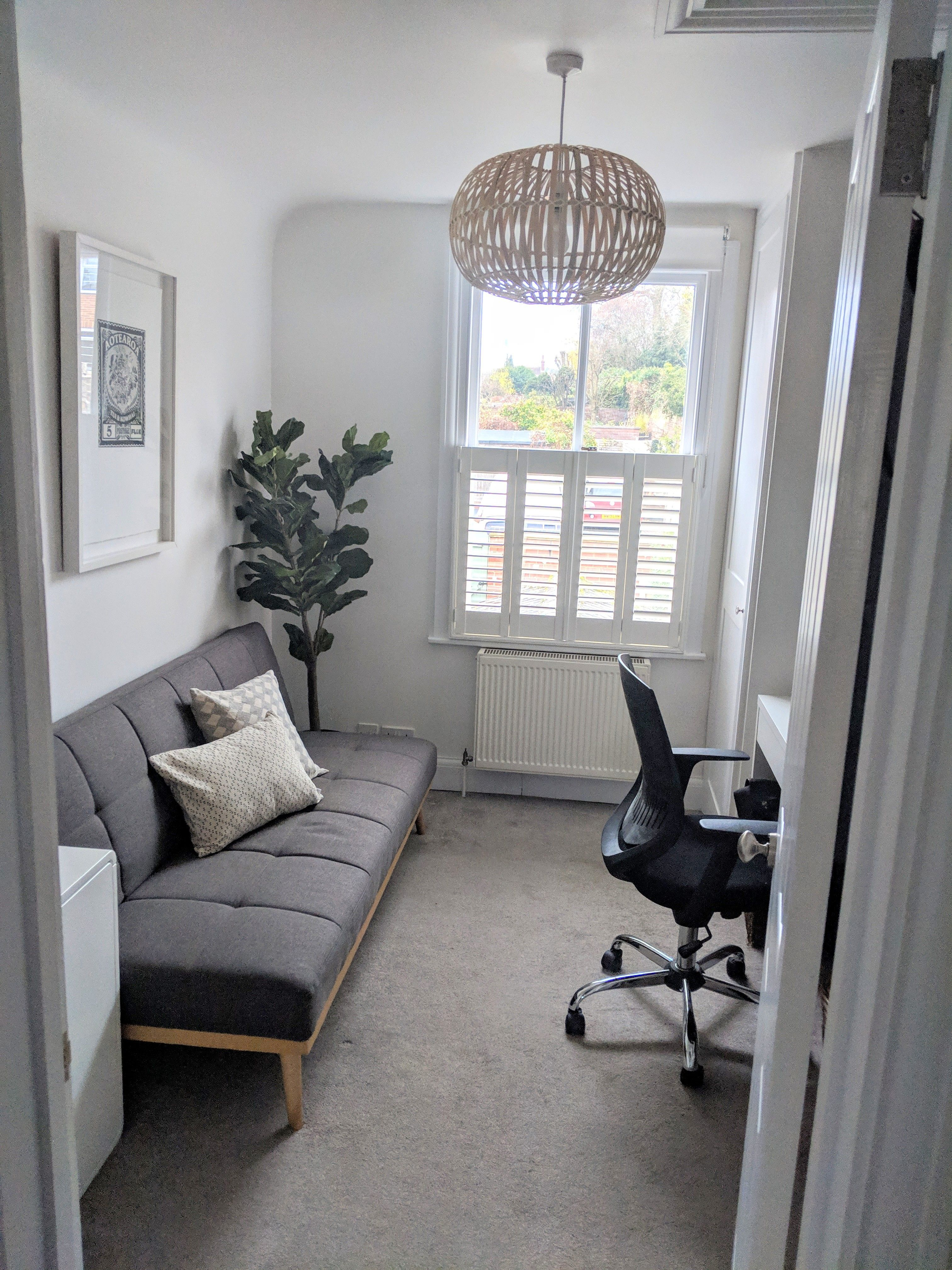 This Beautiful Office Includes A Sofa Bed For A Change Of Use To A Guest Bedroom Shutters Wo In 2020 Home Office Bedroom Guest Bedroom Home Office Small Guest Bedroom