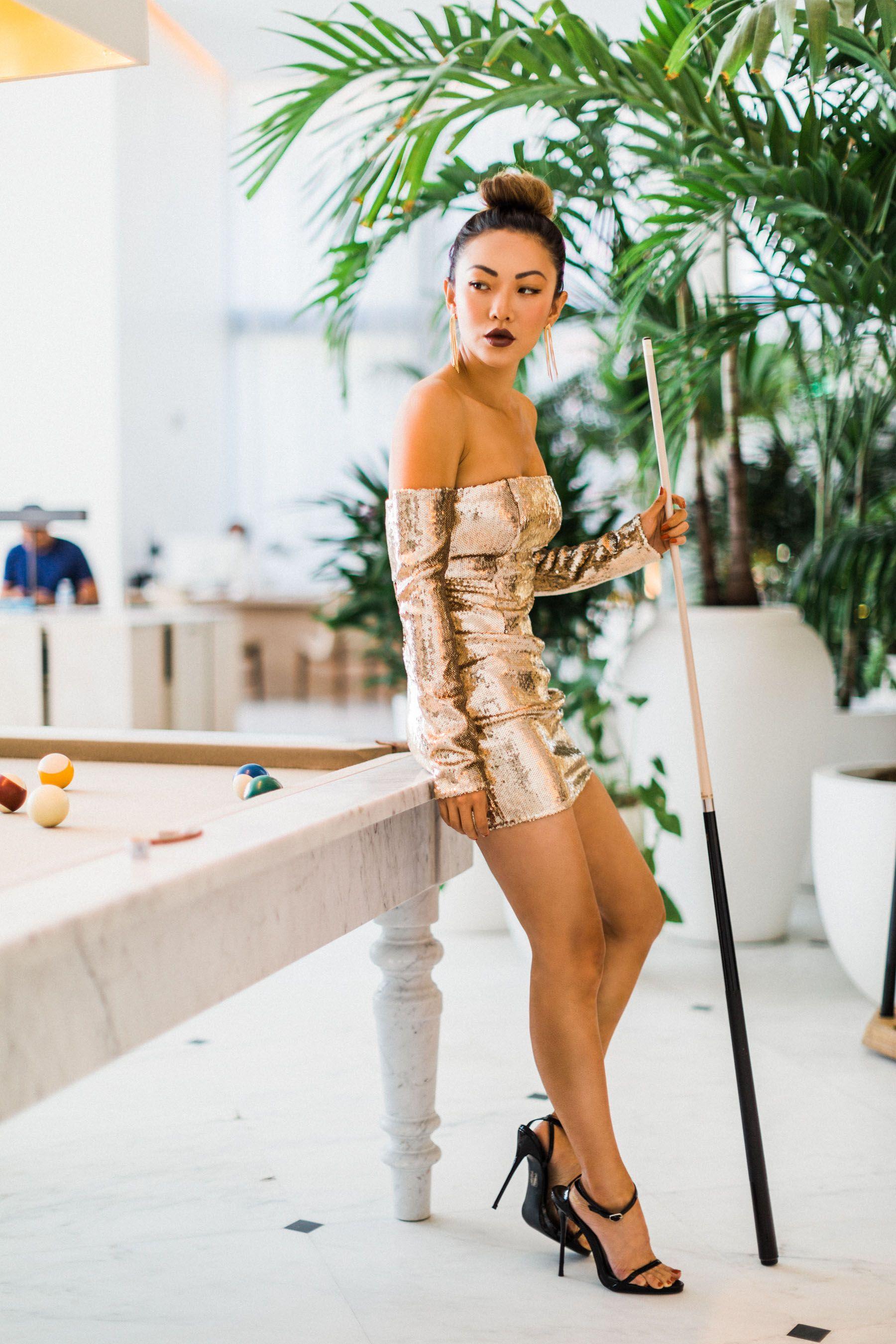 Hottest Party Dresses Gold Sequin Mini Dress Notjessfashion
