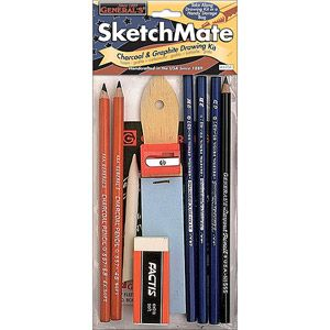 10 Assorted Grade Pencils and Sharpener Reeves Sketching