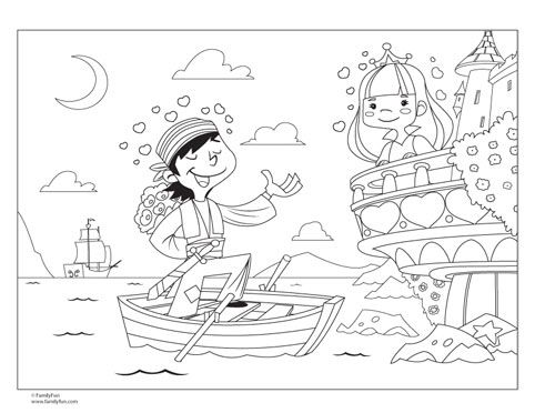 Pirate and princess coloring page free valentines printable