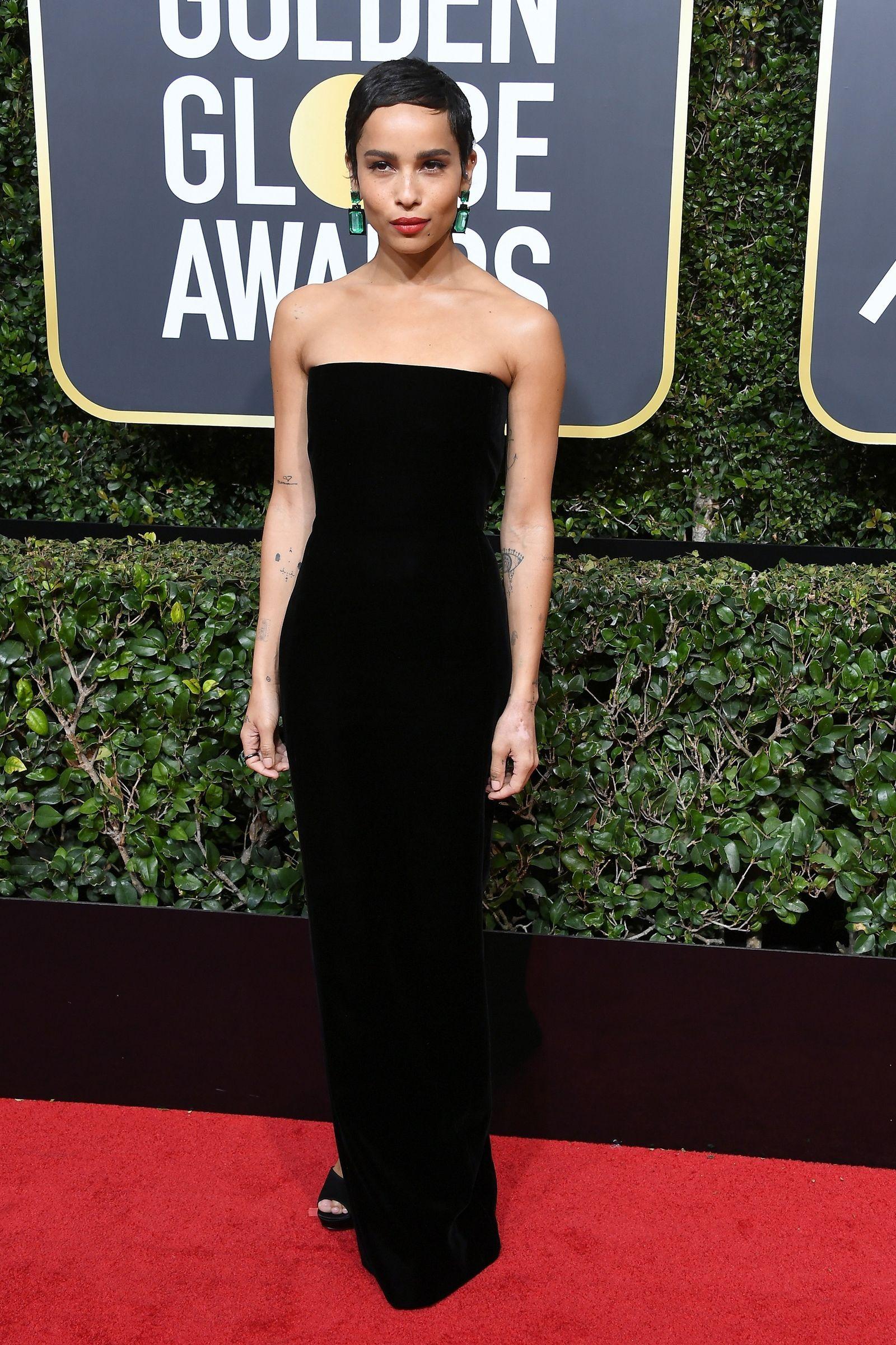 442119d5e3 Zoe Kravitz from 2018 Golden Globes Red Carpet Fashion in Saint Laurent