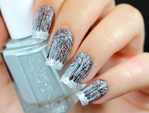 Winter Forest Snow Nail Art Nail Art Pinterest Snow Nails