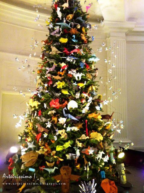 Arvore De Natal Com Enfeites Em Origami Com Imagens Arvore De