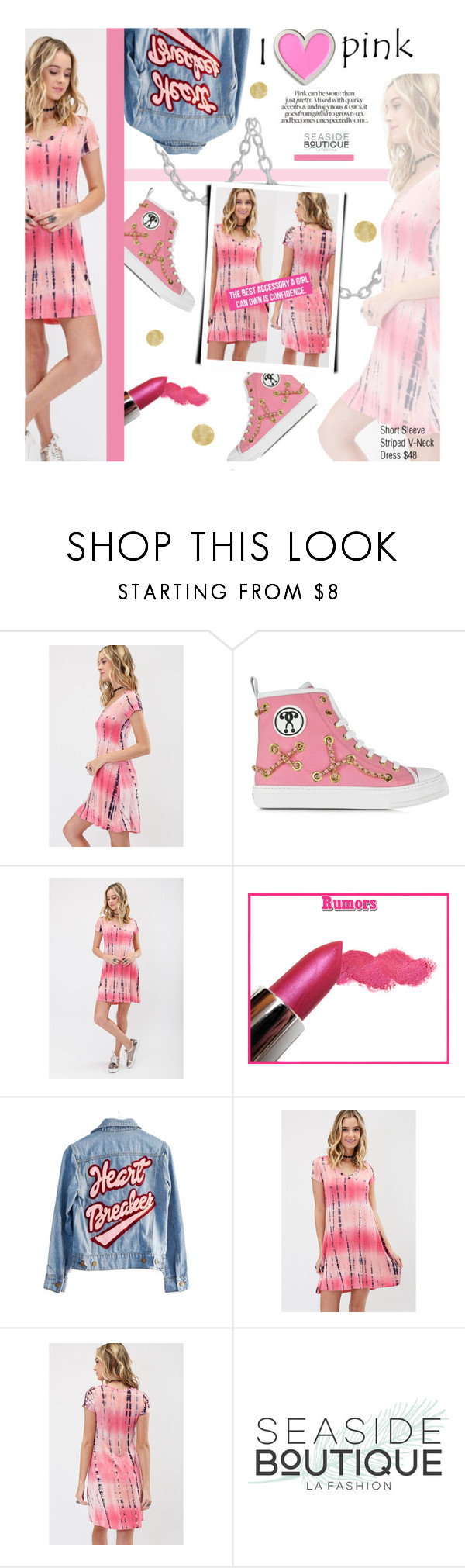 """I <3 Pink"" by seaside-boutique ❤ liked on Polyvore featuring Moschino and High Heels Suicide"