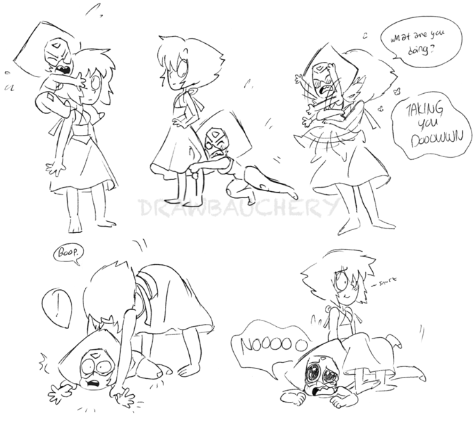 """""""Lapis and Peridot wrestling but Lapis pins her easily and Peri is all like «No! How could this happen!» and Lapis is laughing"""" request by drawbauchery"""