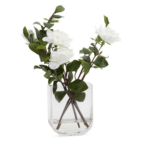 Faux Gardenia In Glass Vase ($30) ❤ liked on Polyvore featuring home, home decor and glass home decor