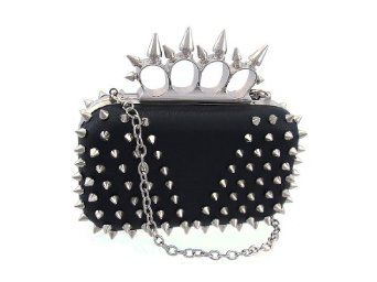 Black and Chrome Spiked Knuckle Duster Clutch Purse