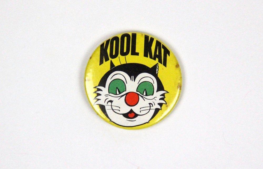 Vintage Kool Kat metal pin badge, featuring Korky the Cat