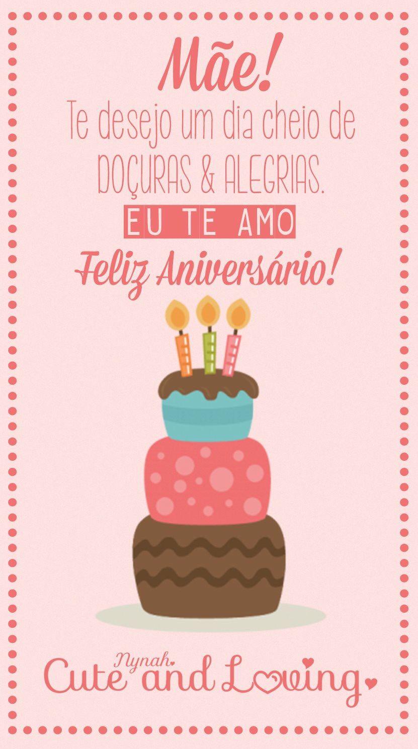 Mãe Feliz Aniversário Aniversario Happy Birthday Birthday