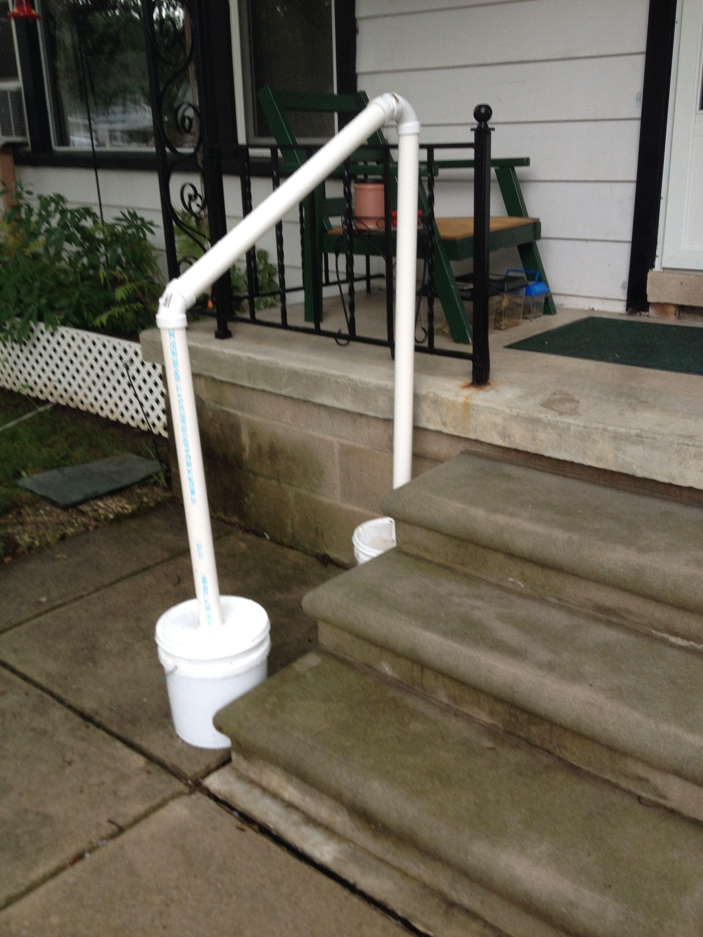 Temporary Hand Rail For My Mom When In Town Pvc Railing | Pvc Railings For Steps | 3 Step | Plastic | Corner Interior Stair | Steel Vertical Balustrade White Handrail Post | Design