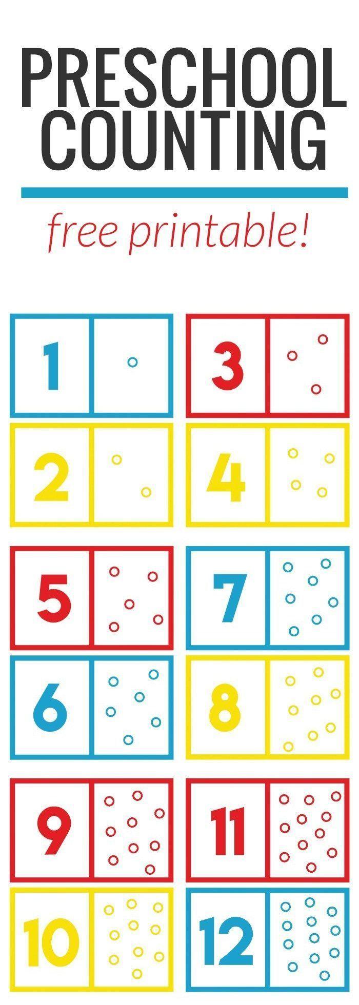 Preschool Math Counting Game + Free Printable Preschool