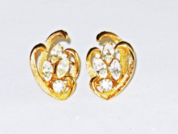 Vintage BSK Gold Tone Clear Rhinestone by delightfullyvintage