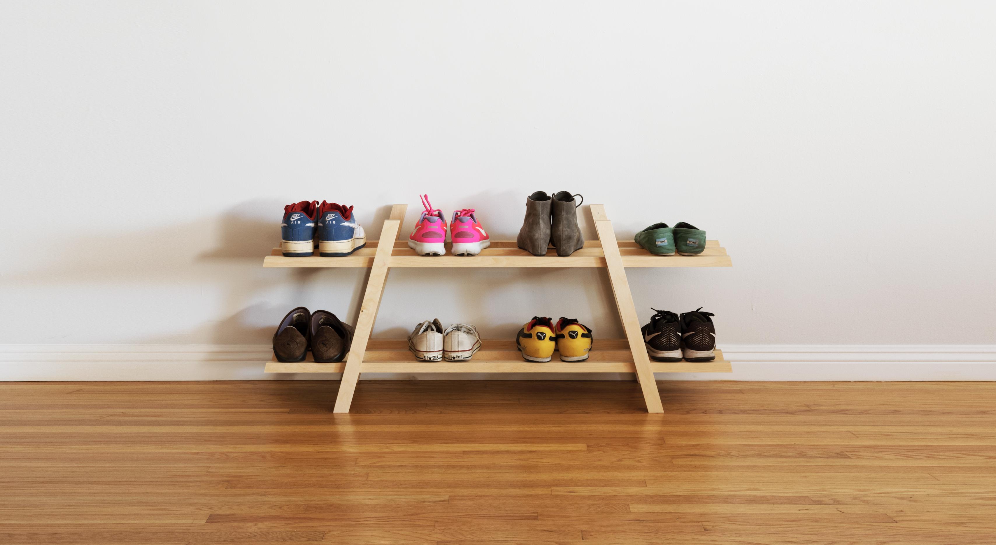 Dwell Made Presents Diy Modern Shoe Rack Modern Shoe Rack Diy