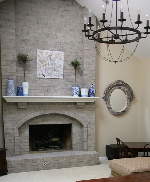 Image Result For Gray Painted Rock Fireplace Makeover