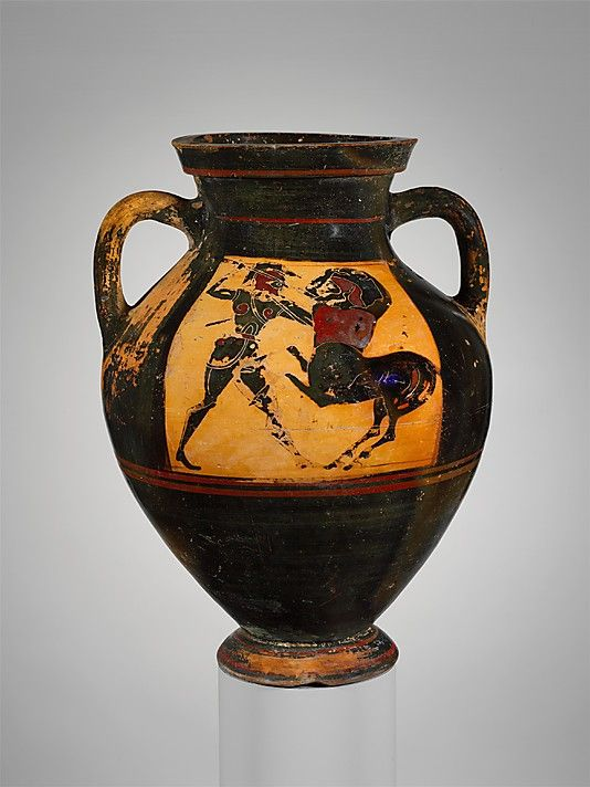Amphora Archaic Herakles And Warrior Battling Centaurs Individually Greek Art Greek Terracotta