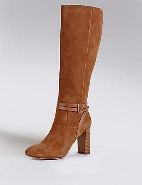 Stain Away™ Suede Block Heel Strap Knee Boots with Insolia®