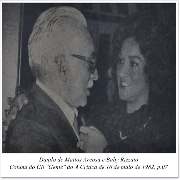 "Danilo de Mattos Areosa e Baby Rizzato. Coluna do Gil ""Gente"" do A Crítica de 16 de maio de 1982."