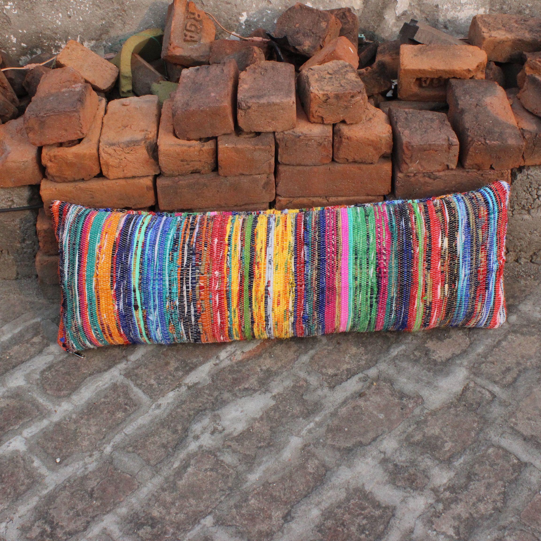 Colorful Lumbar Boho Pillow Cover Indian Pillow Bohemian Lumbar