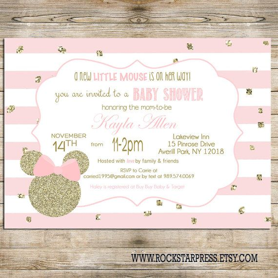 Minnie mouse baby shower invitation gold and pink minnie mouse minnie mouse baby shower invitation gold and pink by rockstarpress filmwisefo