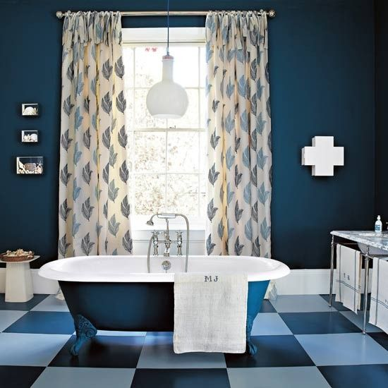 bold bathroom  traditional bathroom  ideal home  blue