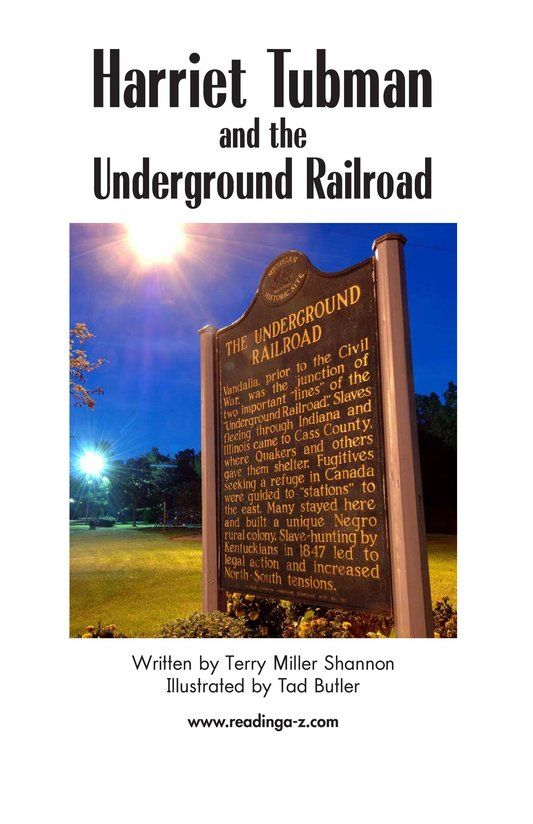 Harriet Tubman And The Underground Railroad Kids A Z K