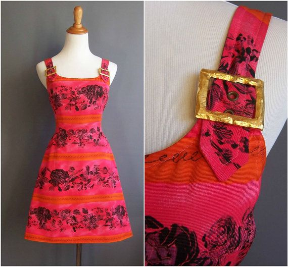 Christian Lacroix 1980s minidress with huge gold buckles pink orange 80s designer party dress supermodel era 1987 1988