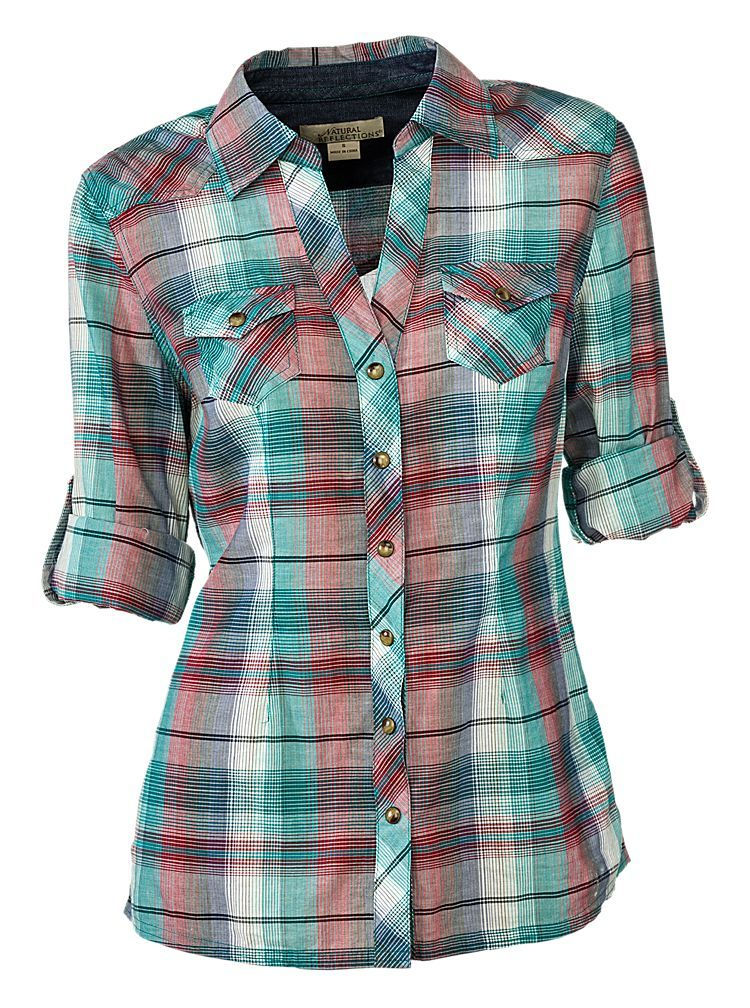 3c7d0155ef Natural Reflections Western Plaid Shirt for Ladies