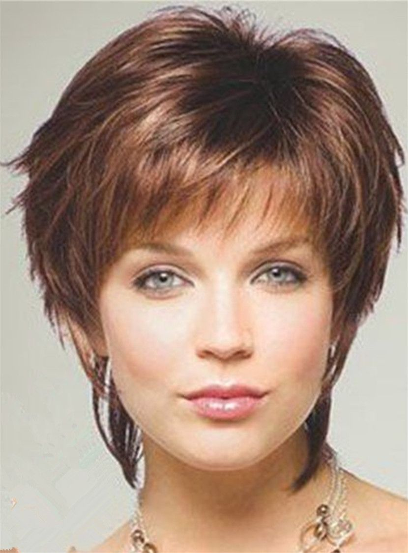 Style Short Layered Straight Human Hair With Bangs Capless Wig 10 Inches