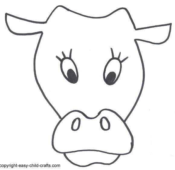 Cow Face Printable Masks Templates Clipart für ABs for worksheets