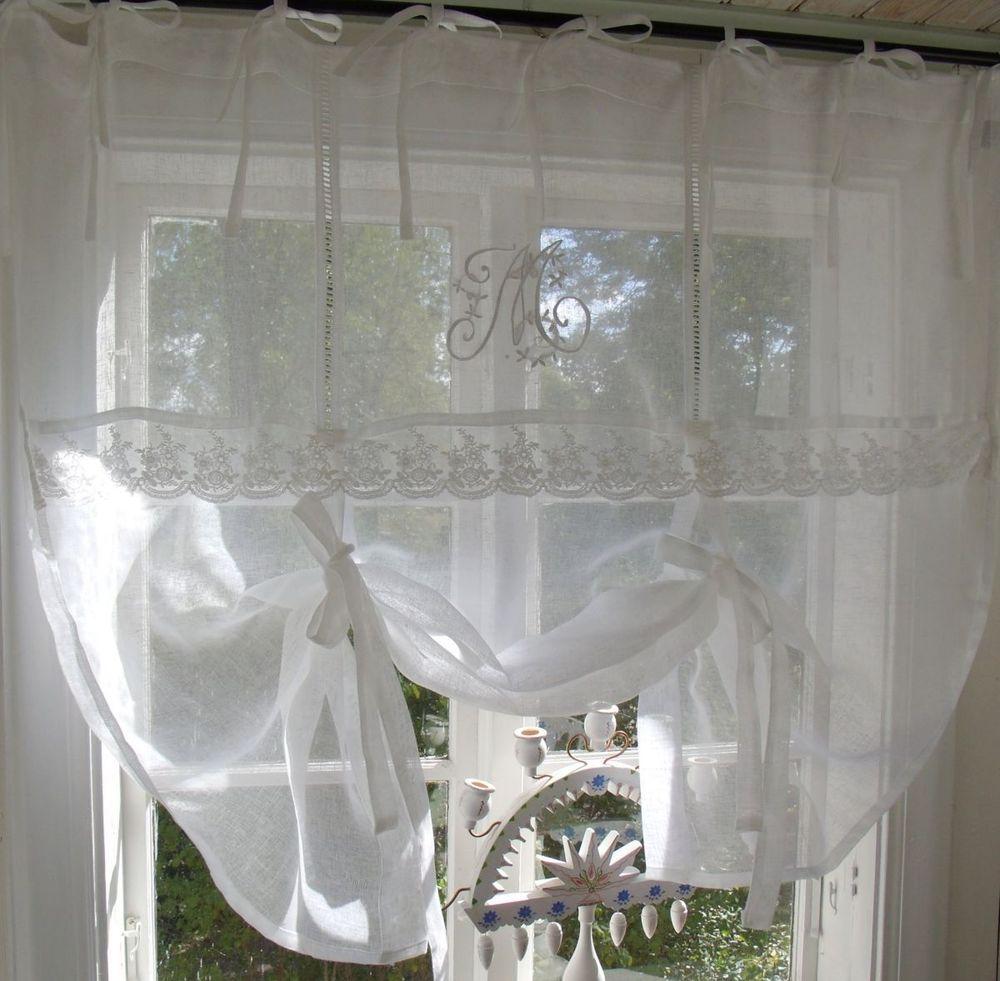 Vorhänge Landhaus details zu raff gardine mariella leinen 140x120 weiß shabby brocante
