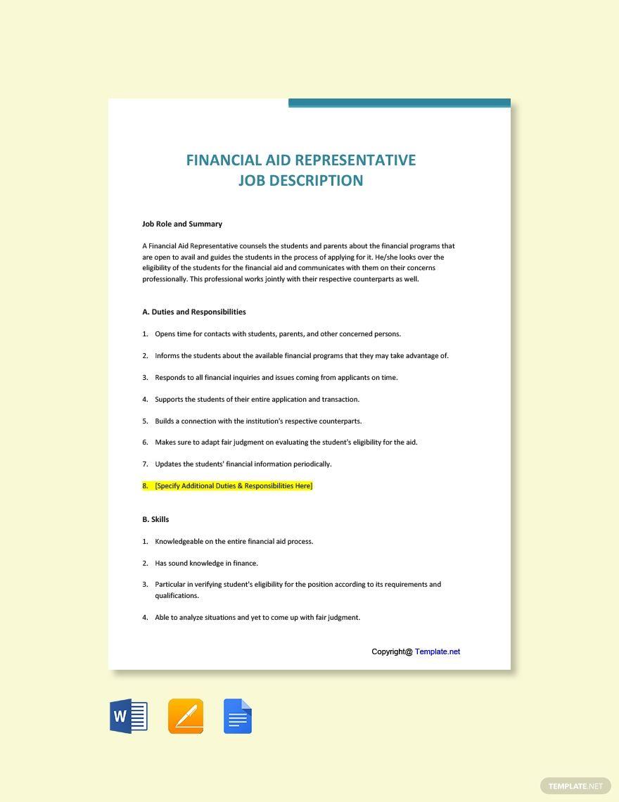 FREE Financial Aid Representative Job Ad/Description