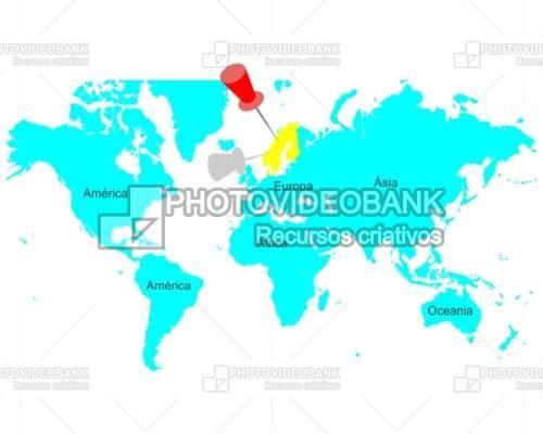 Map Of The World Continents Scandinavia Photovideobank Escandinavia Continentes Mapa Mundi