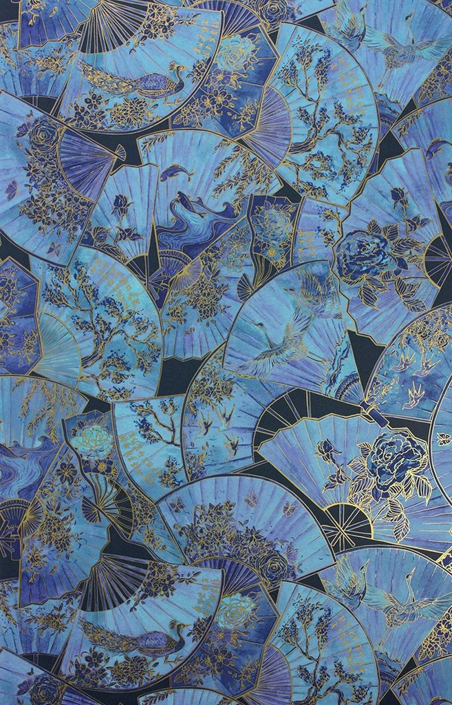 Fanfare Wallpaper in Blue from the Belvoir Collect