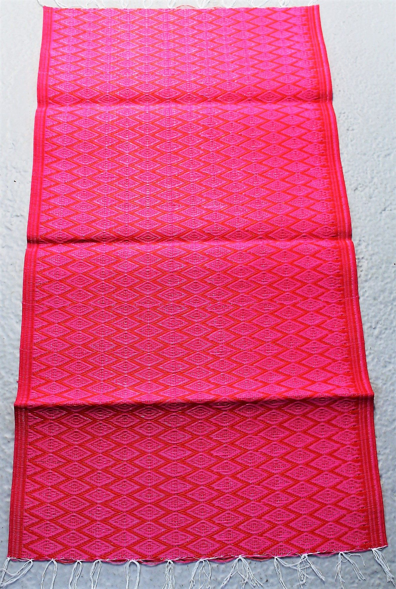 Red Pink Recycled Plastic Mat Small Floor Rug Bathroom