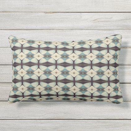 Abstract Design Brown Teal Outdoor Lumbar Pillow