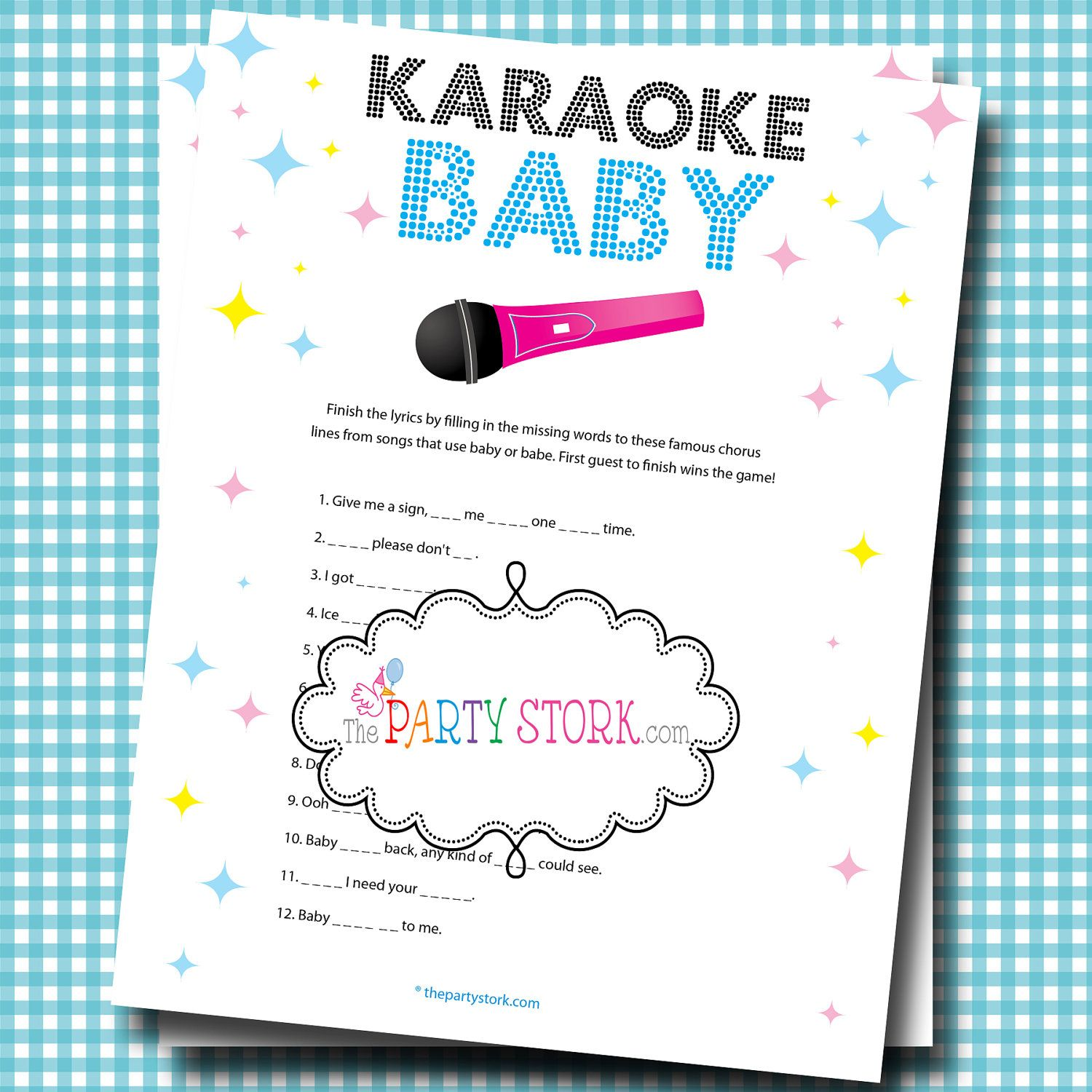 Girl or Boy Baby Shower Games Fun Karaoke Baby Game Printable