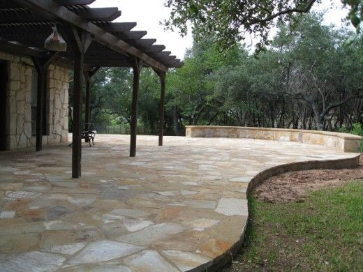 Stone Patio Design Ideas people also searched by back yard curved bench custom wood deck fire pit to produce an setting that is warm as well as comfy area for every singl Granite Patio Natural Stone Patio Granite Pinterest Patio Stone Patios And Patio Ideas