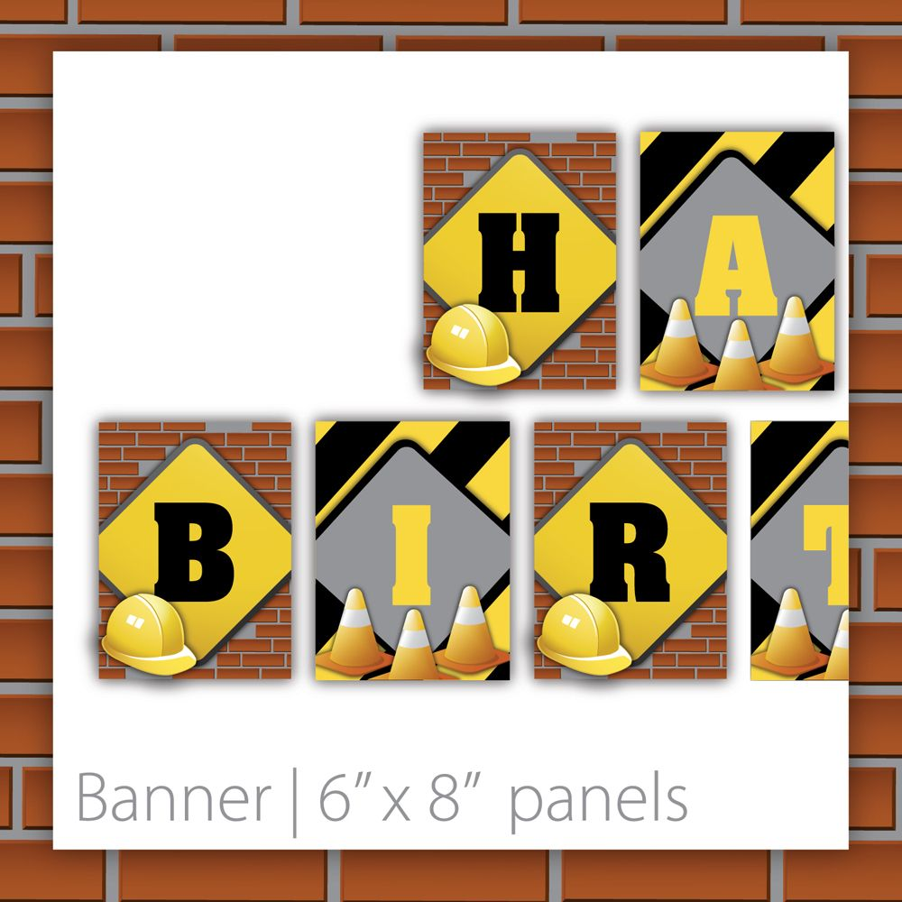 Construction Birthday Party Banner . PRINTABLE