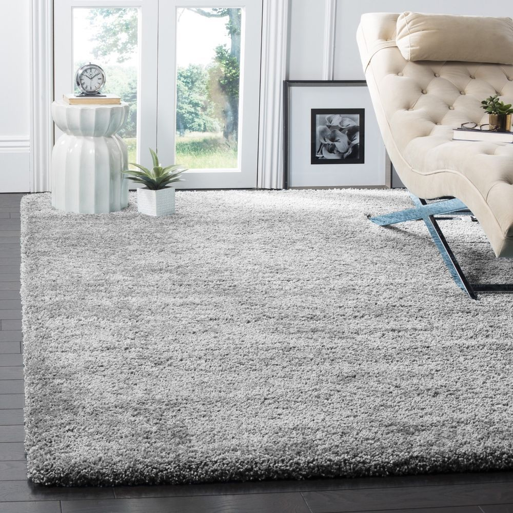 Shaggy large xl silver grey soft runner rugs thick plain long pile ...