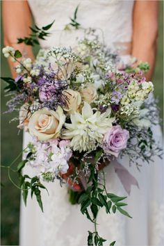 Lavender Green White And Drapey Bohemian Wedding Bouquet