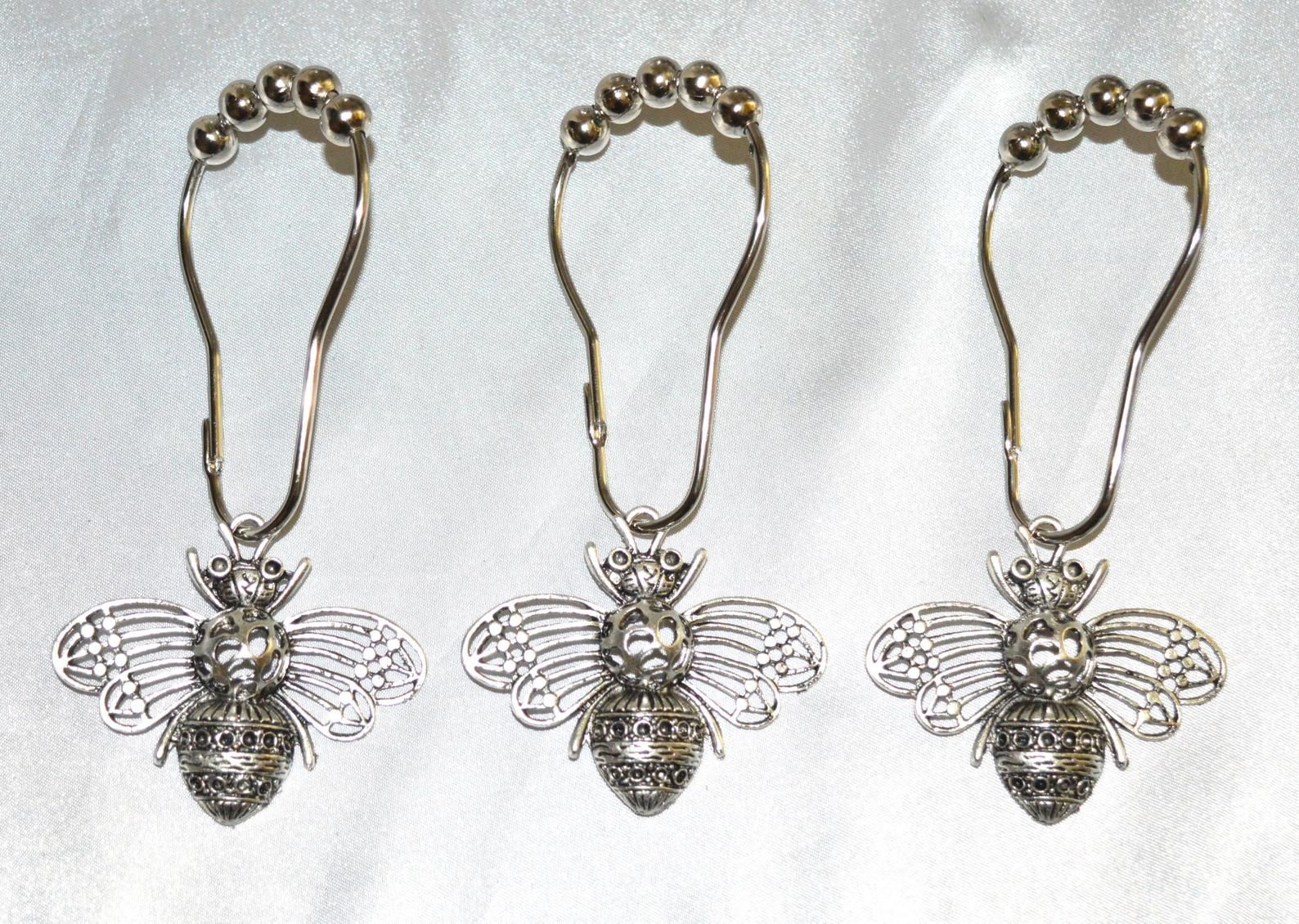 Bee Shower Curtain Hooks Set Of 12 Large Silver Detailed Honey