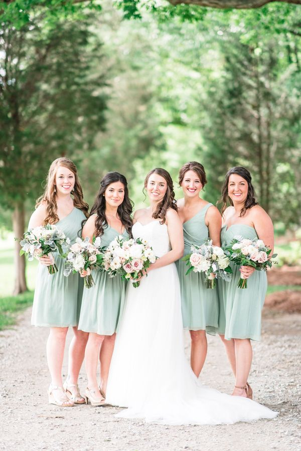 Gorgeous Gals In Tail Length Bridesmaid Dresses Light Sage Green
