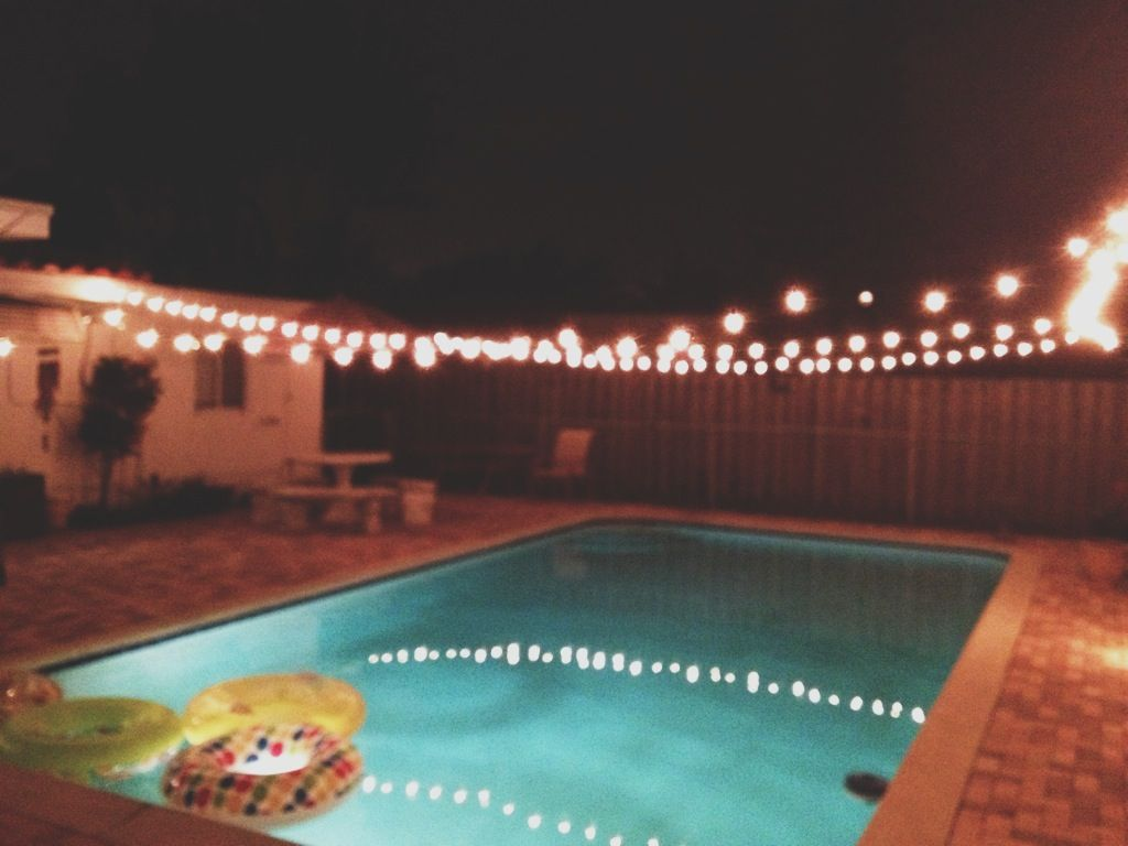Backyard | Evening Outdoor Party. String Lights Over The Pool Idea. Connect  From Patio
