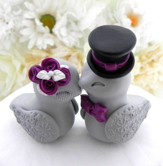 Love Birds Wedding Cake Topper, White, Plum Purple, Black and Grey, Bride and Groom Keepsake, Fully Personalized
