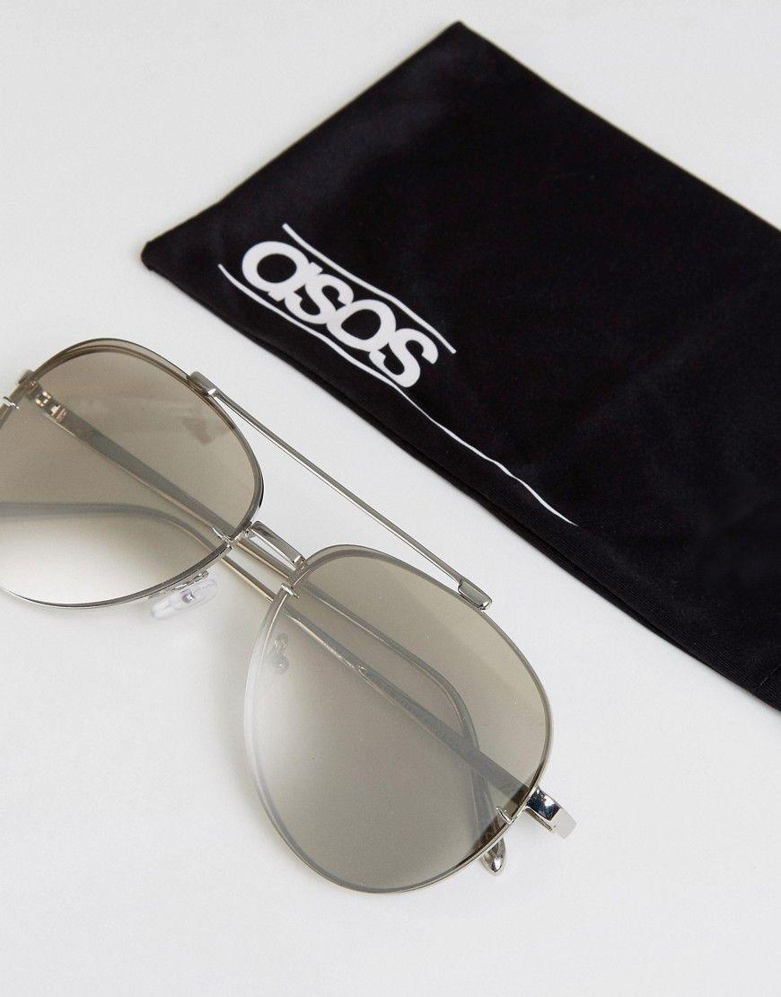 f47ecf7e5d3 ASOS Aviator Sunglasses In Silver With Silver Mirror Lens - Silver