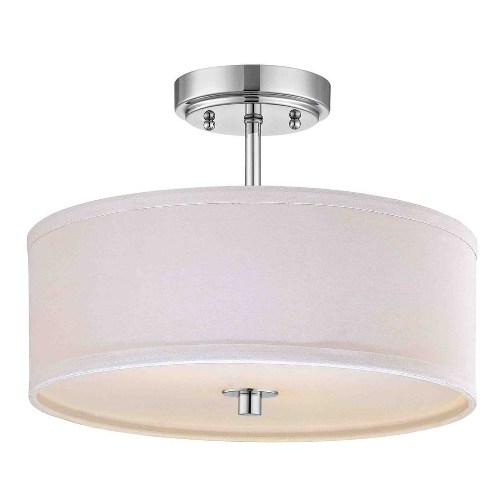 Modern chrome ceiling light with white drum shade 14 inches wide design classics lighting modern chrome ceiling light with cream drum shade 14 inches wide aloadofball Images