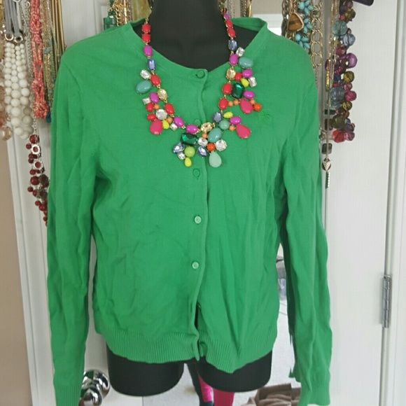 Emerald Green Lilly Pulitzer Cardigan Excellent condition Lilly Pulitzer Bright Emerald cotton cardigan. Long sleeve. Right in time for  St.Patricks Day! Size large. Lilly Pulitzer Sweaters Cardigans