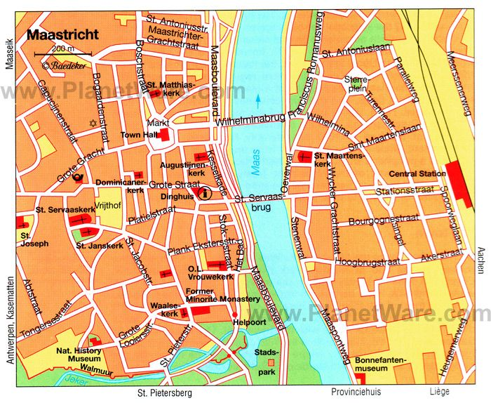 Maastricht Map Tourist Attractions zaujmavosti technick
