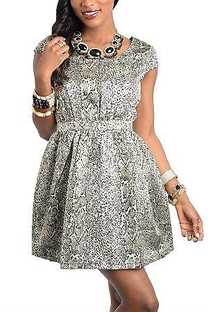 Short sleeves animal print dress50�0COTTON 50�0POLYESTER