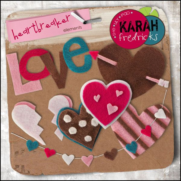 Heartbreaker Felties Element Pack by Karah Fredricks ... Digital Scrapbooking